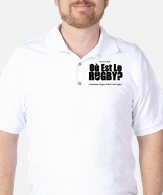 Black Rugby Humour Où Est Le Rugby? T-Shirt