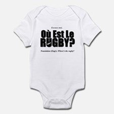 Black Rugby Humour Où Est Le Rugby? Infant Bodysui