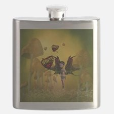Cute fairy with butterfly Flask
