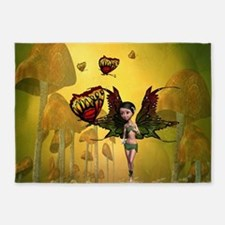 Cute fairy with butterfly 5'x7'Area Rug
