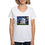 Starry Night / Maltese Women's V-Neck T-Shirt