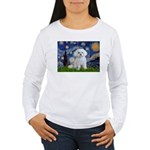 Starry Night / Maltese Women's Long Sleeve T-Shirt