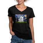 Starry Night / Maltese Women's V-Neck Dark T-Shirt