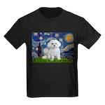 Starry Night / Maltese Kids Dark T-Shirt