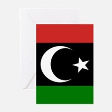 Square Libyan Flag Greeting Cards