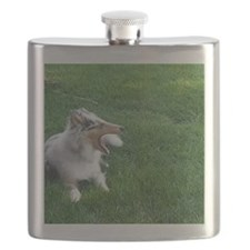 Blue Merle Collie Puppy Flask