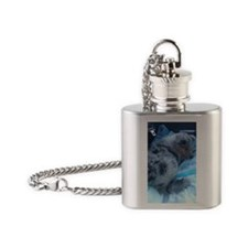 Blue Merle Collie Puppy Flask Necklace