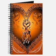 Cute couple giraffe in a heart Journal