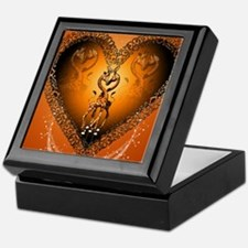Cute couple giraffe in a heart Keepsake Box