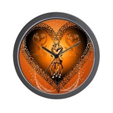 Cute couple giraffe in a heart Wall Clock