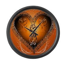 Cute couple giraffe in a heart Large Wall Clock