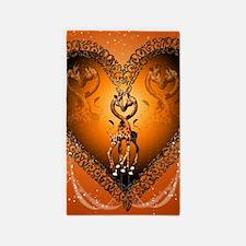 Cute couple giraffe in a heart Area Rug