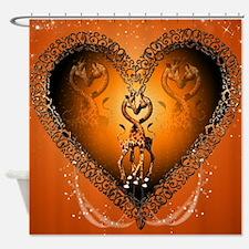 Cute couple giraffe in a heart Shower Curtain