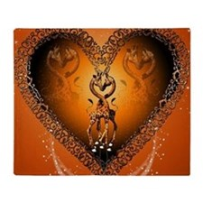 Cute couple giraffe in a heart Throw Blanket