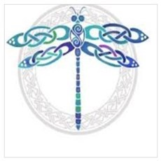 Celtic Dragonfly - Blue with Silver Poster