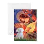 Mandolin Angel & Maltese Greeting Cards (Pk of 10)