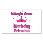 Mikayla Grace 1st Birthday Pr Sticker (Rectangular