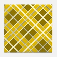 Mustard & Olive Diamonds Tile Coaster