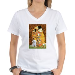 The Kiss / Maltese Women's V-Neck T-Shirt