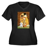 The Kiss / Maltese Women's Plus Size V-Neck Dark T