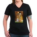The Kiss / Maltese Women's V-Neck Dark T-Shirt
