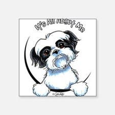 "Cute Funny shih tzu Square Sticker 3"" x 3"""