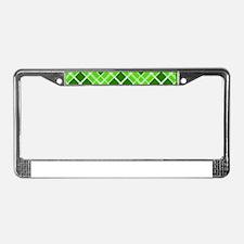Green & Lime Diamond Plaid License Plate Frame
