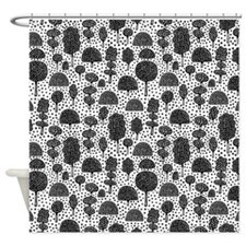 Arboretum 230715 - Black on White Shower Curtain