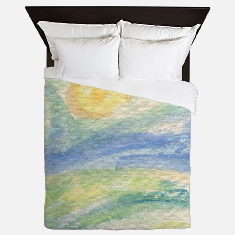 watercolor sun up Queen Duvet