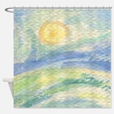 watercolor sun up Shower Curtain