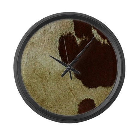 Antique Cow Hide Large Wall Clock By Hopeshappyhome