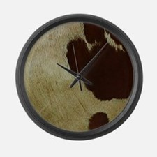 antique cow hide Large Wall Clock