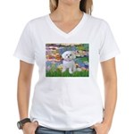 Lilies (2) & Maltese Women's V-Neck T-Shirt