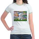 Lilies (2) & Maltese Jr. Ringer T-Shirt