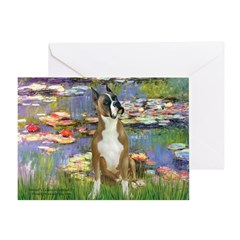Boxer (1) in Monet's Lilies Greeting Card