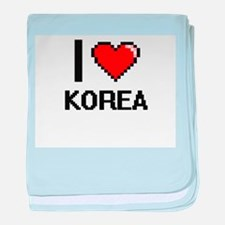 I Love Korea baby blanket