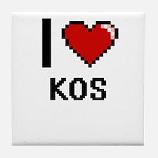 I Love Kos Tile Coaster