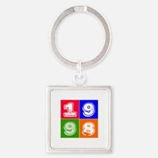 1998 Birthday Designs Square Keychain