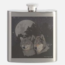 Rocky Mountain Wolves Flask