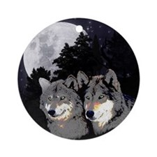 Rocky Mountain Wolves Round Ornament