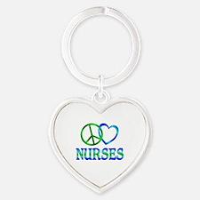 Peace Love Nurses Heart Keychain