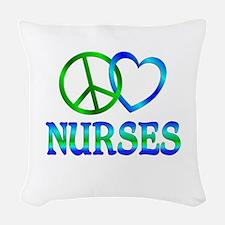 Peace Love Nurses Woven Throw Pillow