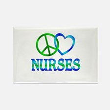 Peace Love Nurses Rectangle Magnet (10 pack)