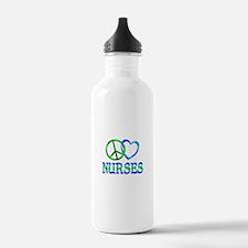 Peace Love Nurses Water Bottle