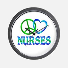 Peace Love Nurses Wall Clock