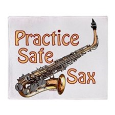 Practice Safe Sax Throw Blanket