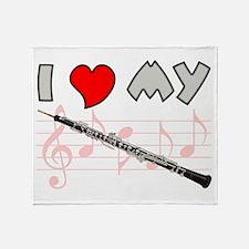 I Love My Oboe Throw Blanket