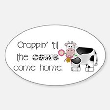 Croppin' Cows Oval Decal