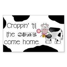 Croppin' Cows Rectangle Decal