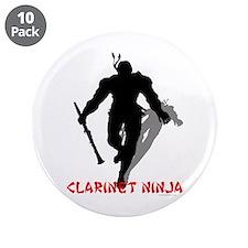 "Clarinet Ninja 3.5"" Button (10 pack)"